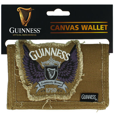 Guinness Brown Canvas Wallet With Wings Badge