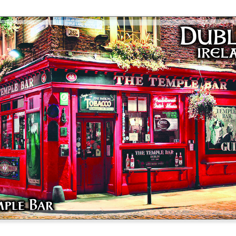 Ireland Epoxy Magnet Of The Famous Temple Bar Dublin  Renowned For Its Whiskey