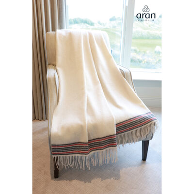 Lambswool Large White Throw with Crios Design