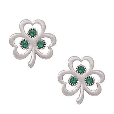Versilberte  offene Kleeblatt-Ohrringe mit kleinen Steinen