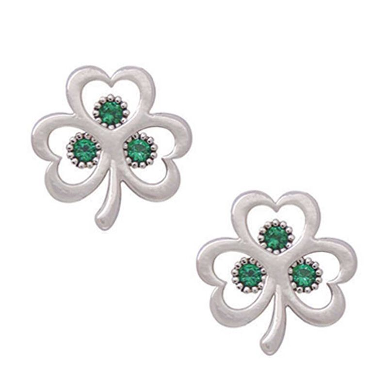 Silver Plated Open Shamrock Earrings With Small Stones