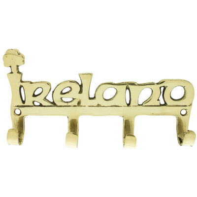 Solid Brass Four Hook Key Rack With Ireland Wording