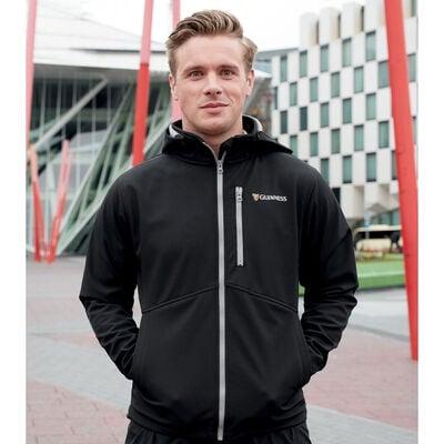 Schwarze Guinness-Fleece-Jacke mit Harfen-Design