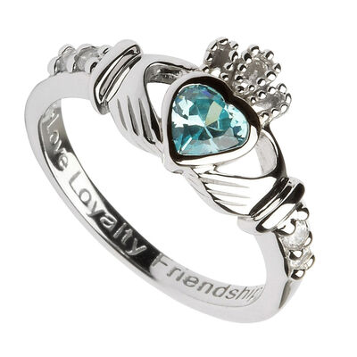 Hallmarked Sterling Silver Claddagh Birthstone Ring March