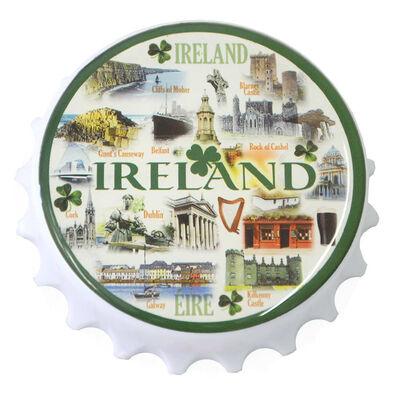 Famous Landmarks Of Ireland MDF Magnet With Bottlecap Design