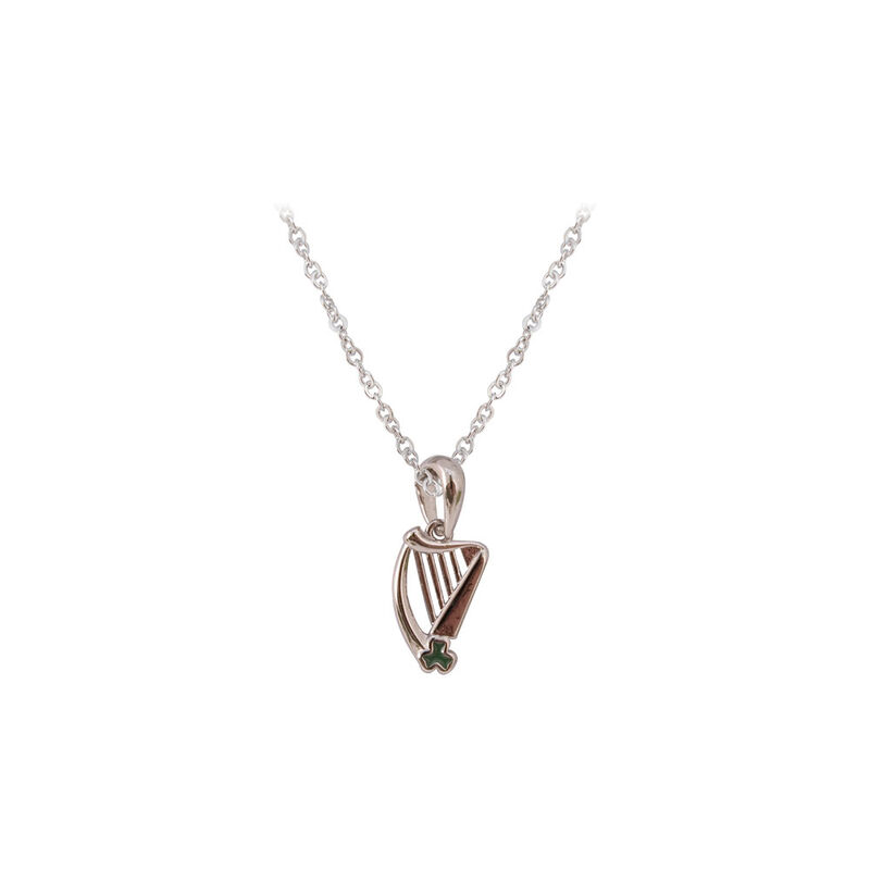 Silver Plated Harp Pendant With Small Green Shamrock Detail