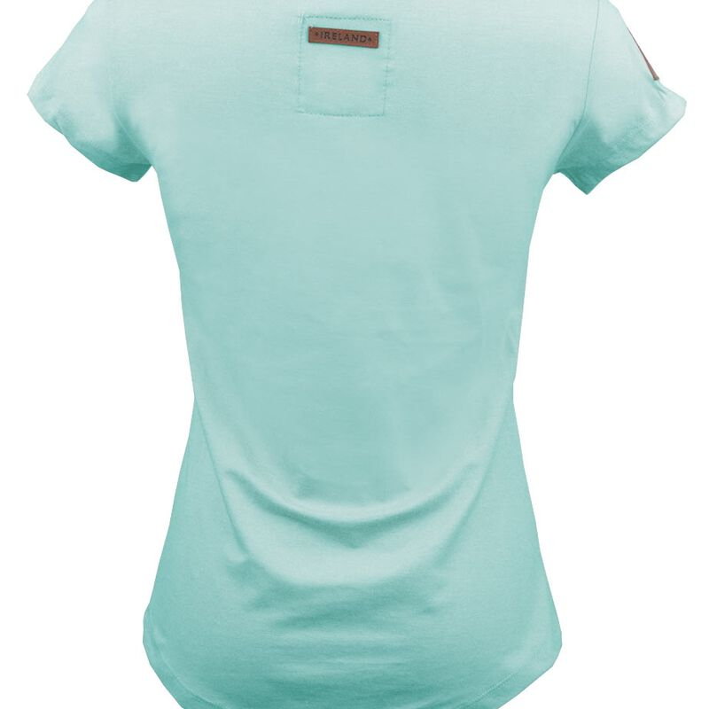 Ladies T-Shirt With Ireland Leather Patch  Mist Green