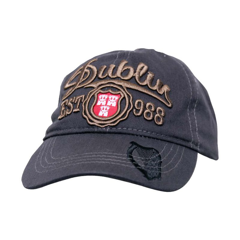 Grey Kids Baseball Cap With Dublin Est. 988 And Black Harp Design