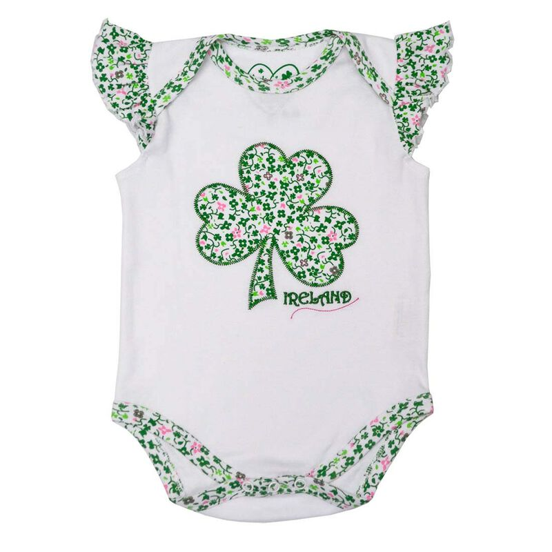White Baby Vest With Shamrock And flowers Design