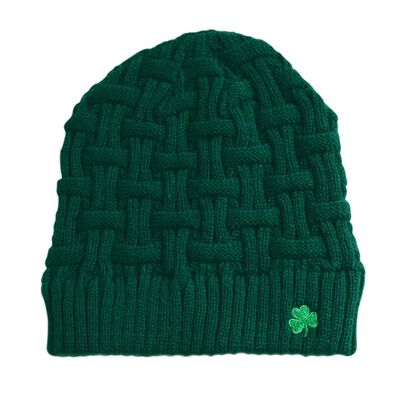 Acrylic Basket Weave Beanie Hat Olive Green Colour With Green Shamrock