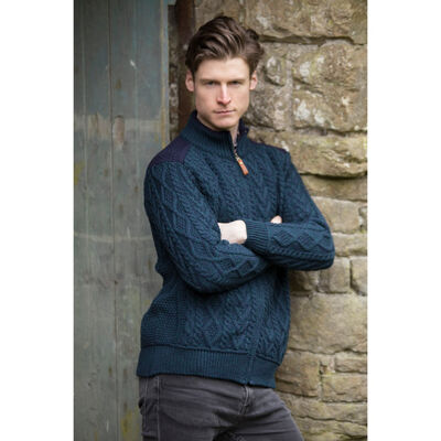 Aran Crafts Zip Cardigan With Patch Shoulder Detail  Blackwatch Colour