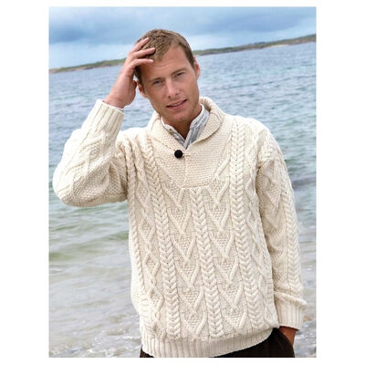 100% Merino Wool Aran Shawl Collar Aran Sweater, Natural Colour