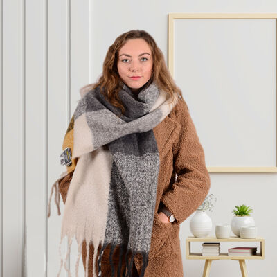 Irish Designed Woollen Wrap Scarf 48 X 180cm  Cream and Grey Colour