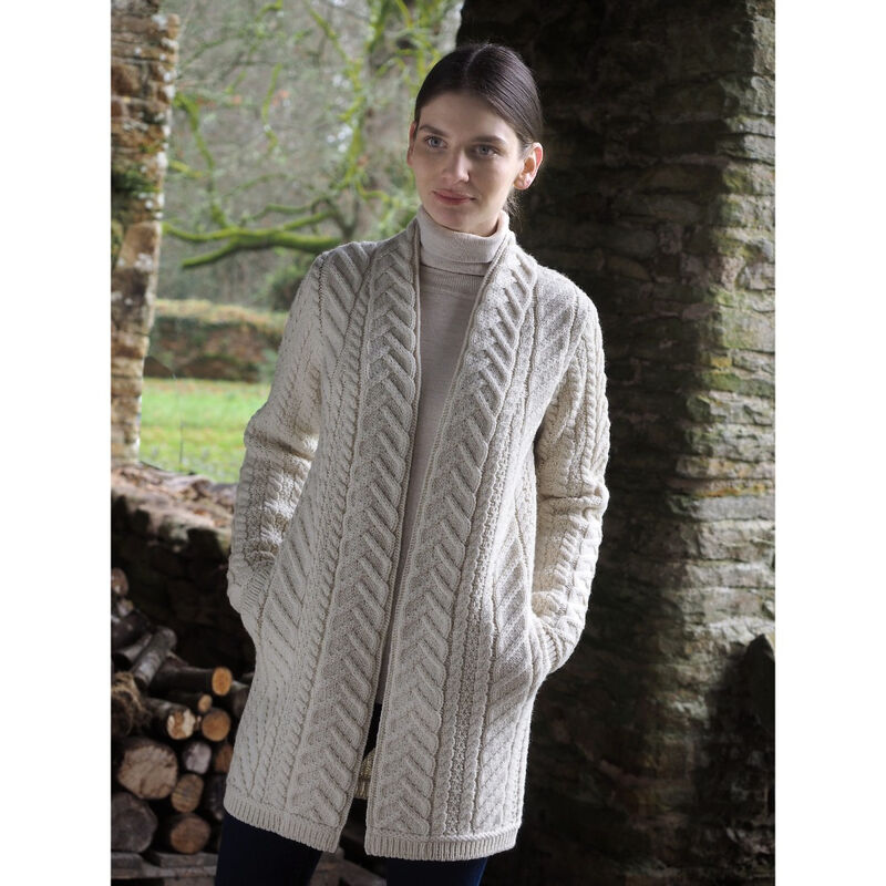 Ladies Traditional Knit Edge To Edge Long Coat  Natural Colour