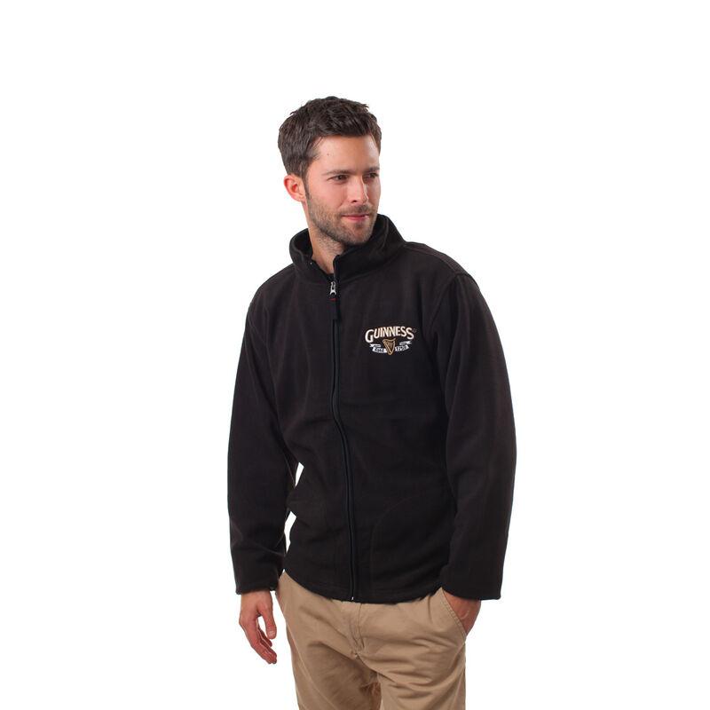 Guinness Full Zip-Up Fleece Jacket With Logo Print  Black Colour