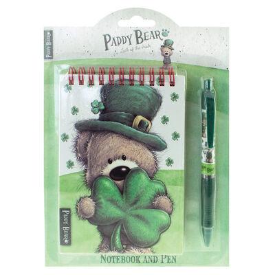 Paddy Bear-Notizbuch und Stift im irischen Design mit Kleeblattmotiv