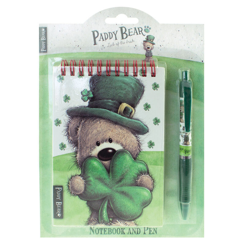 Paddy Bear Irish Designed Notebook and Pen With Shamrock Design