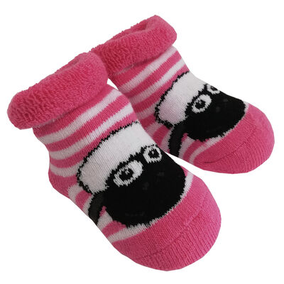 White And Pink Stripped The Flaherty Flock Sheep Designed Baby Socks