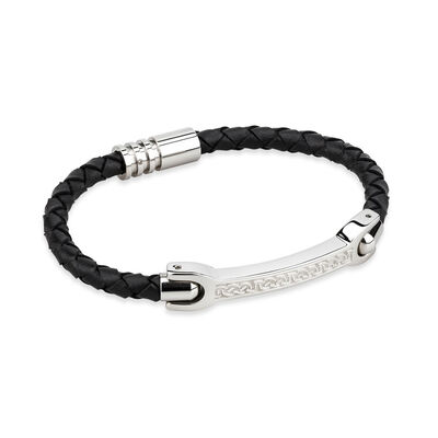 Mens Black Thin Leather Bracelet Wristband With Steel Celtic Knot Design