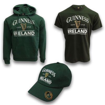 St. Patrick's Day Green Guinness Clothing Set - Hoodie, T-shirt & Baseball Cap