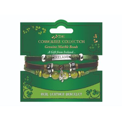The Connemara Collection Genuine Green And Brown Leather Shamrock Bracelet