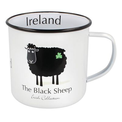 The Black Sheep Irish Collection Black With Shamrock Sheep Enamel Mug