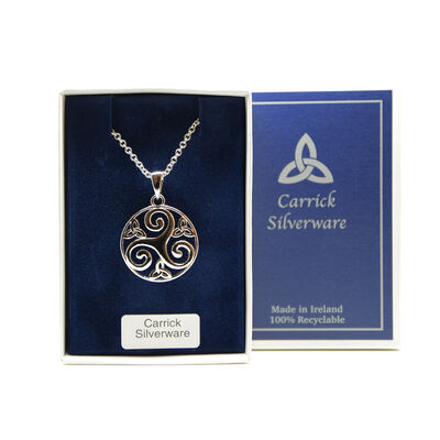 Silver Plated Carrick Silverware Triskele With Celtic Knots Pendant