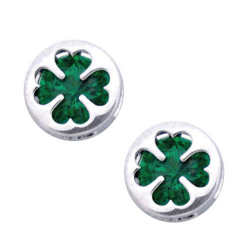 Silver Plated Clover Earrings With Cubic Zirconia Stones