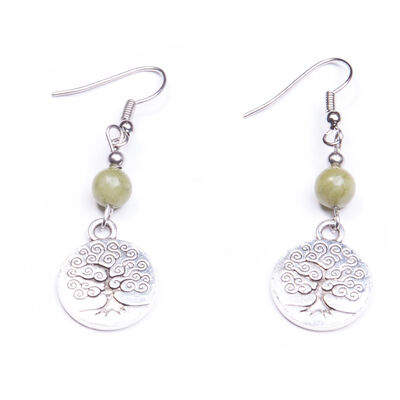 Small Connemara Marble Engraved Tree of Life Earrings