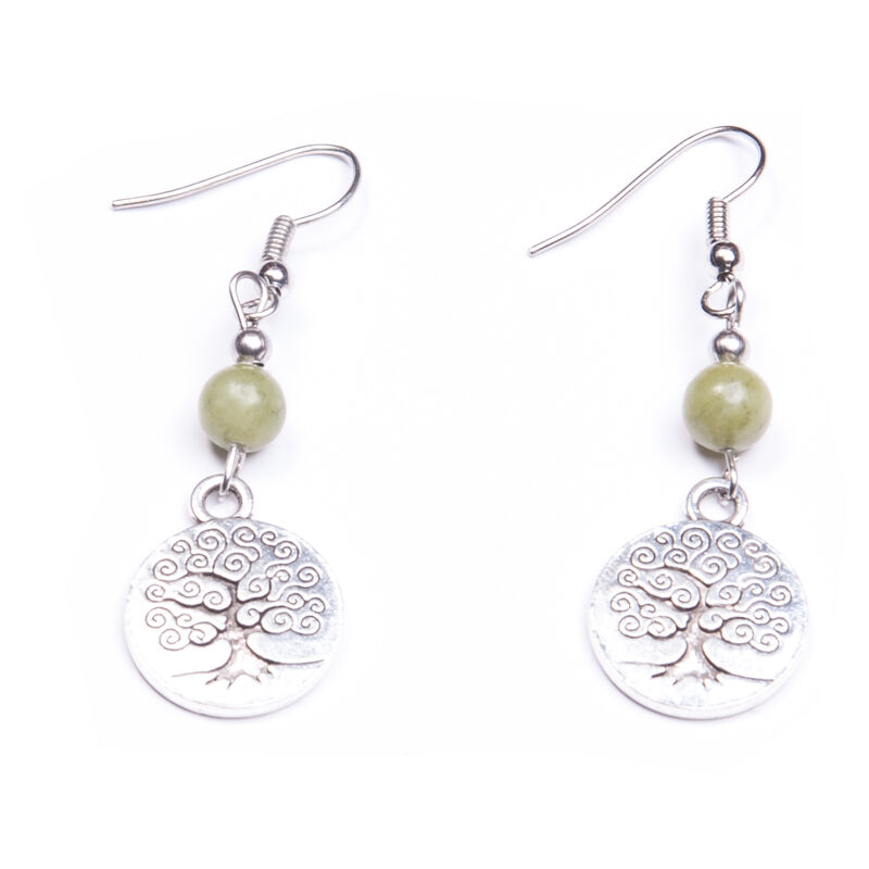 Small Connemara Marble Engraved Tree of Life Earrings  Handmade In Ireland