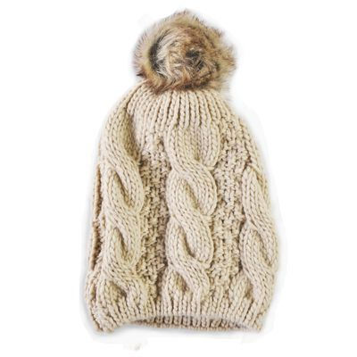 Knit Style Beige Tammy Hat With Faux Fur Bauble