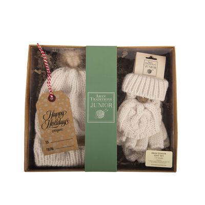 Aran Traditions Junior Gift Set - Classic Mini Me Aran Pom Pom Hat & Mittens, Cream Colour