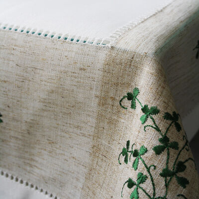 "Pure Cotton Natural Tablecloth Designed With Shamrock Crochet, 36"" X 36"""
