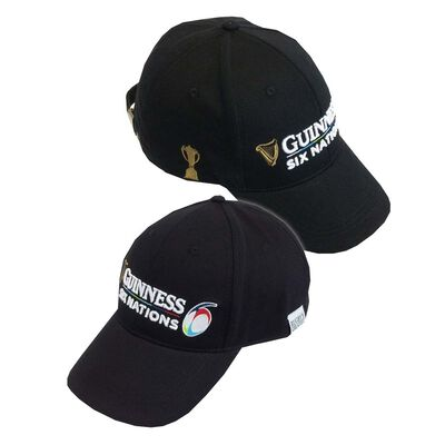 Guinness Official Merchandise Six Nations Black Baseball Cap With White Text