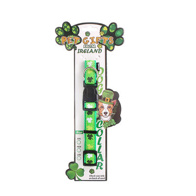 Shamrock Designed Green Dog Collar