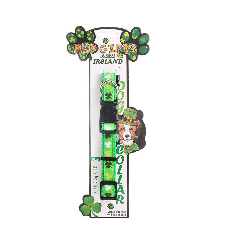 Made In Ireland Shamrock Designed Green Dog Collar 25Cm In Size
