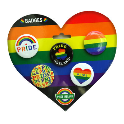 4 Per Pack Pride Coloured Ireland Badges With Various Designs