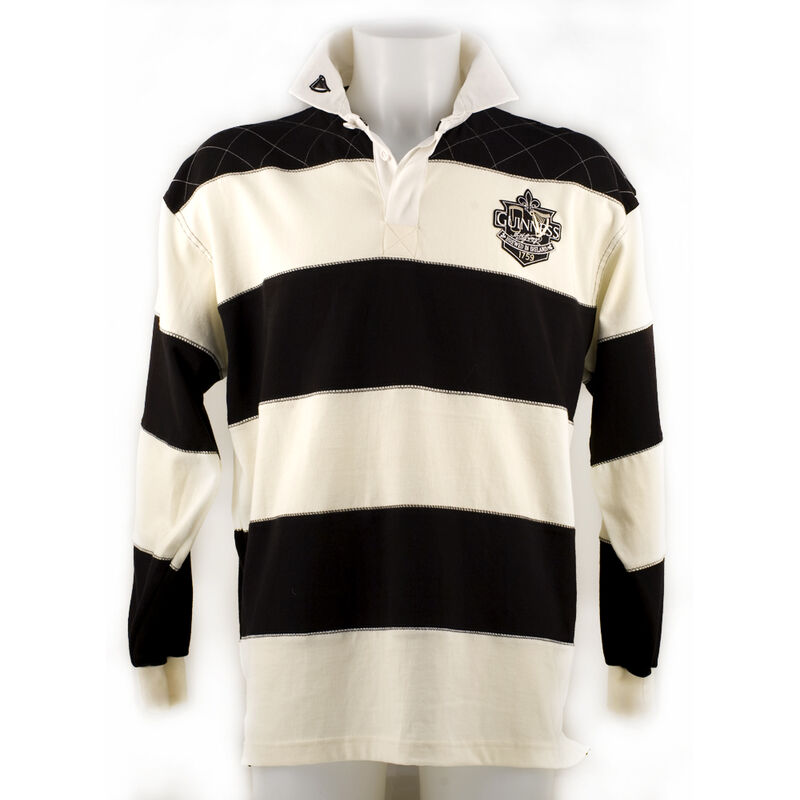 Guinness Rugby Shirt With Brewed In Dublin Crest Badge  Cream And Black Stripes