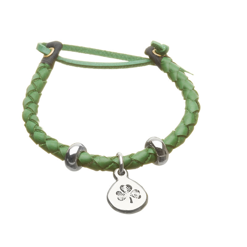 Green Leather Plaited Wristband with a Silver Shamrock Charm and Leather Straps