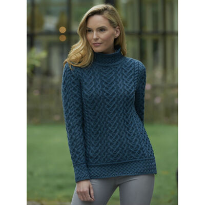 High Neck Cable Aran Sweater