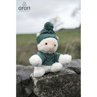 Aran Woollen Mills Small Sheep With Green Aran Jumper And Hat