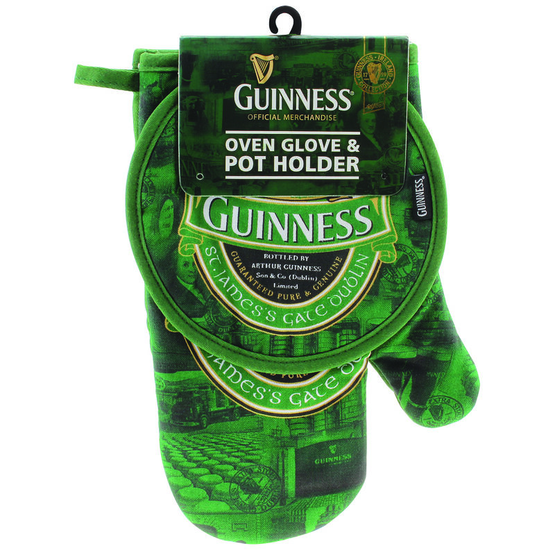 Oven Glove and Pot Holder with St. James Gate Print - Guinness Ireland Collection