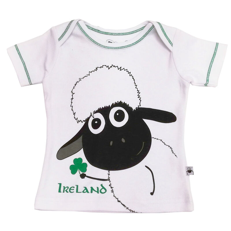 White Baby T-Shirt With Sheep Holding A Shamrock Design and Ireland Text