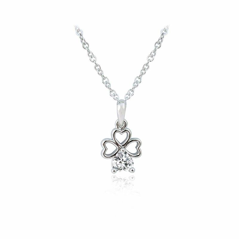 Silver Plated Shamrock Pendant With White Crystal Stem