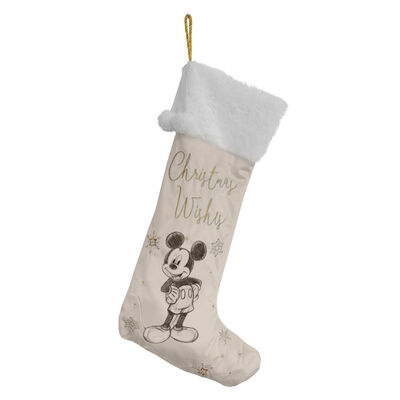 Disney White & Gold Velveteen Christmas Stocking - Mickey