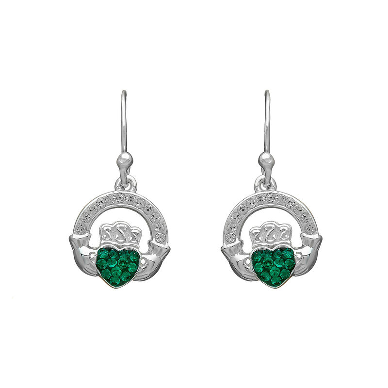 Hallmarked Sterling Silver Drop Earrings With Green Claddagh Ring Design
