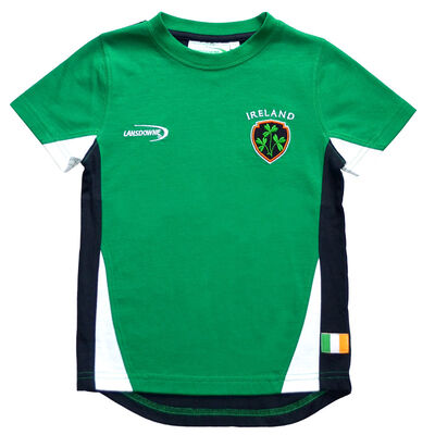 Emerald Green Ireland T-Shirt With Shamrock Crest And Navy Underarm Design