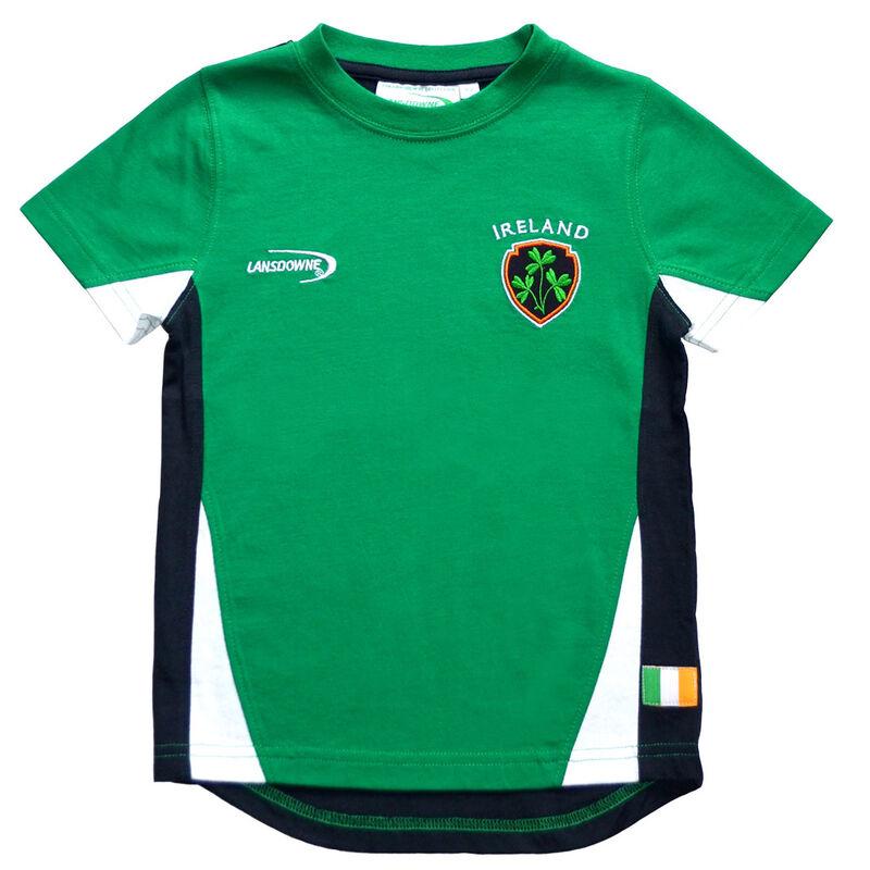 Emerald Green Ireland T-Shirt With Shamrock Crest And Navy Underarm Design