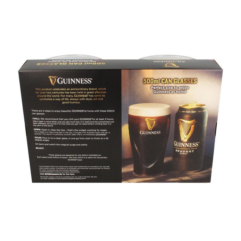 Guinness 500ml Can Glasses 2 Pack With Embossed Harp Logo Design