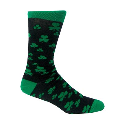 Black Lucky Irish Socks With Green Toe And Shamrock Pattern Design